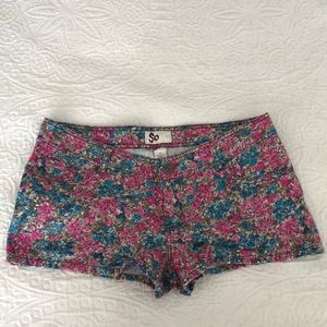 Pink and Blue Floral Shorts